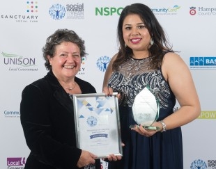 Adult Social Worker of the Year Harprit Rai from Birmingham City Council. Harprit demonstrated impressive practice, determination and skills in working with people with mental capacity issues.