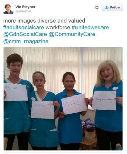 The diversity of our health and care workforce as shared in tweets by the National care Foundation's CEO Vic Rayner #unitedwecare