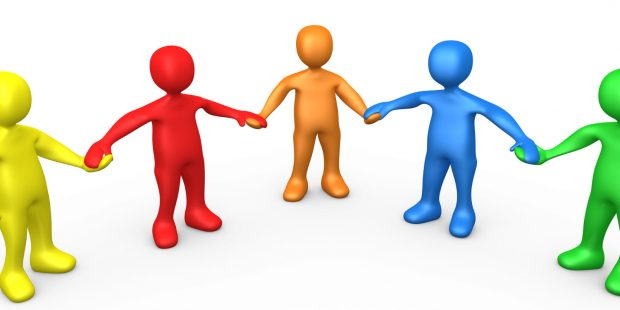 3d computer generated people clipart picture image of a support group of colorful and diverse people holding hands and standing in a circle.