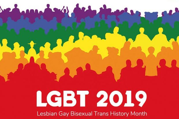 Lesbian Gay Bisexual Trans History Month 2019 poster depicting silhouettes of people in multicoloured rows