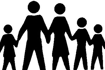 Silhouette of mother, father and children holding hands