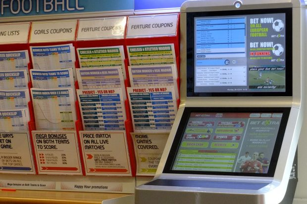 An online betting terminal in a bookmakers