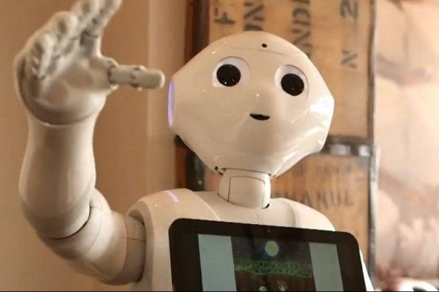 A photo of Pepper the robot, an interactive automaton used to help those with autism and other cognitive conditions to interact with others