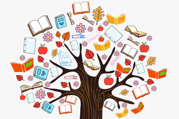 Tree of knowledge - a tree filled with books instead of leaves