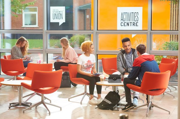 Edge Hill University students discussing ways to stay mentally well