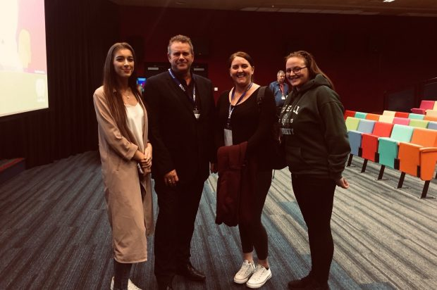 Mark Trewin with mental health social workers at Edge Hill University