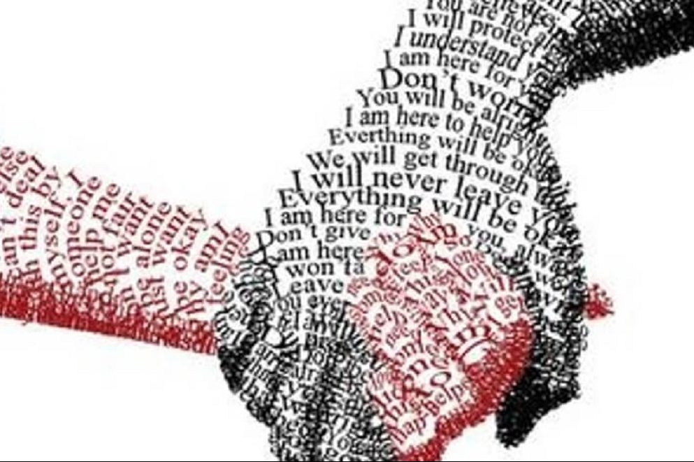 hands holding each other but made from kind and supportive words and phrases