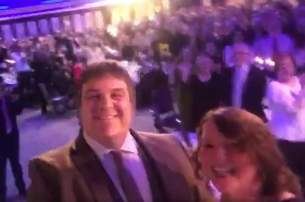 Mark and Fran take a selfie with all the attendees of the Social worker of the Year Awards