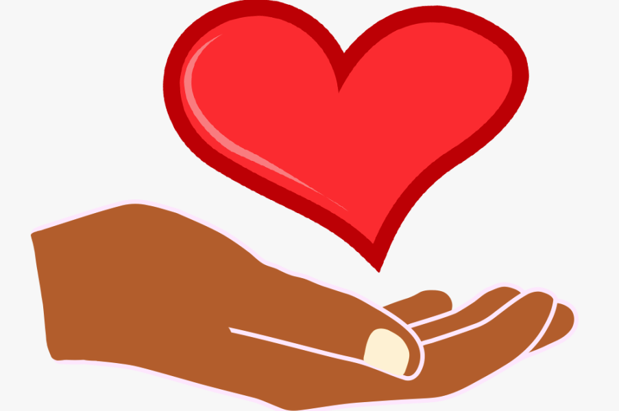 Cartoon image of hand holding a heart to signify caring