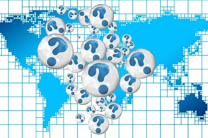 world map covered in question marks