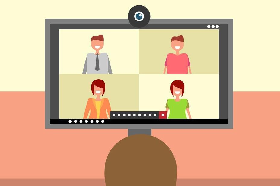 Video conference call. A screen with four participants observed by another.