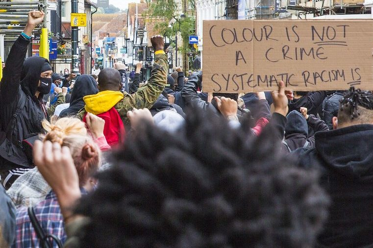 UK peaceful demonstrations in support of black lives matter